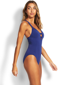 Seafolly Active Long Fit Swimsuit - Blue Opal