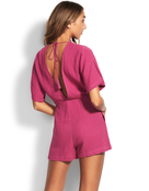 Seafolly Button Up Playsuit - Magenta Haze