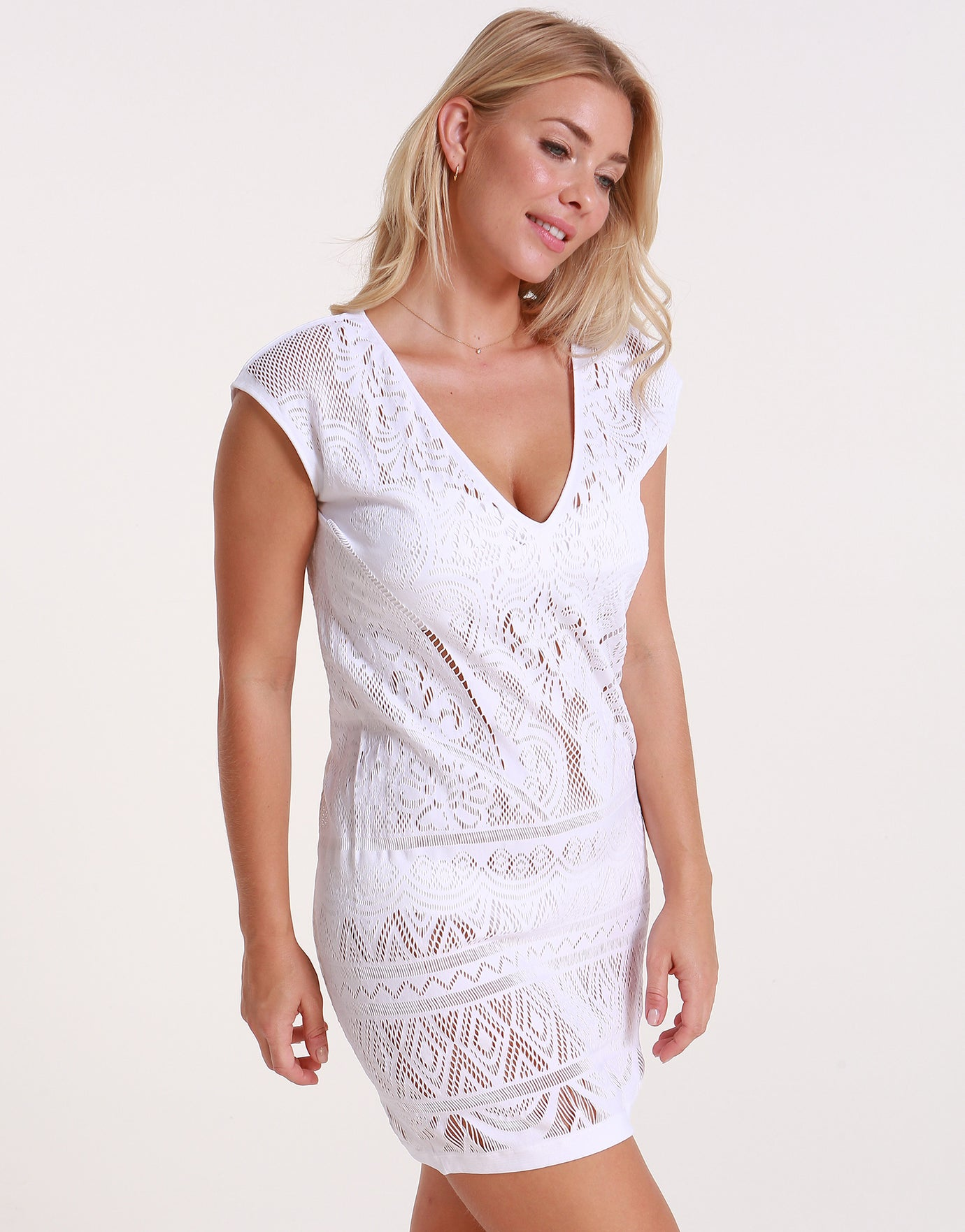 Jets Intrigue Shift Dress - White