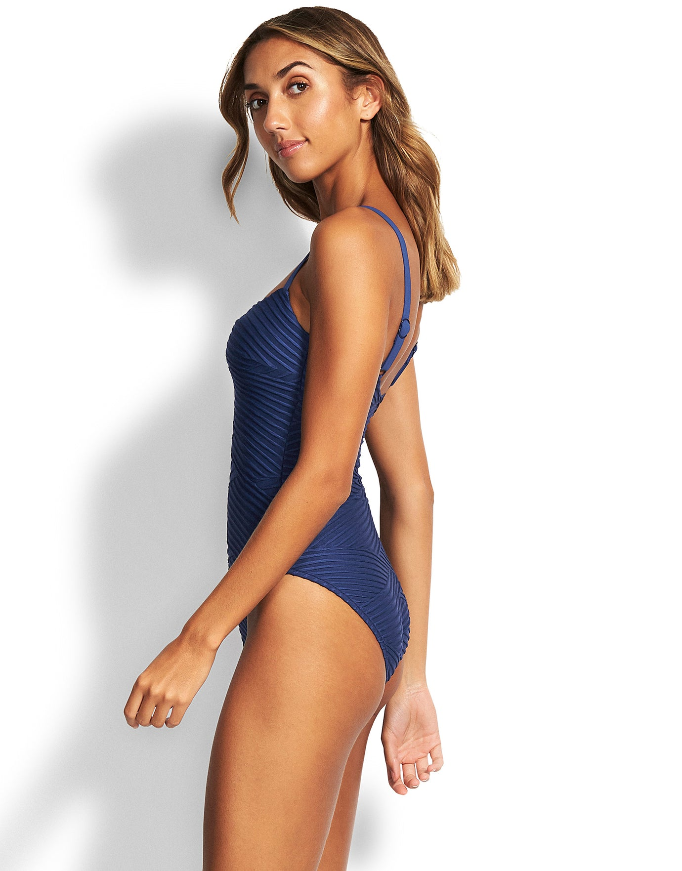 Seafolly Freshwater Square Neck Swimsuit - Blue Opal