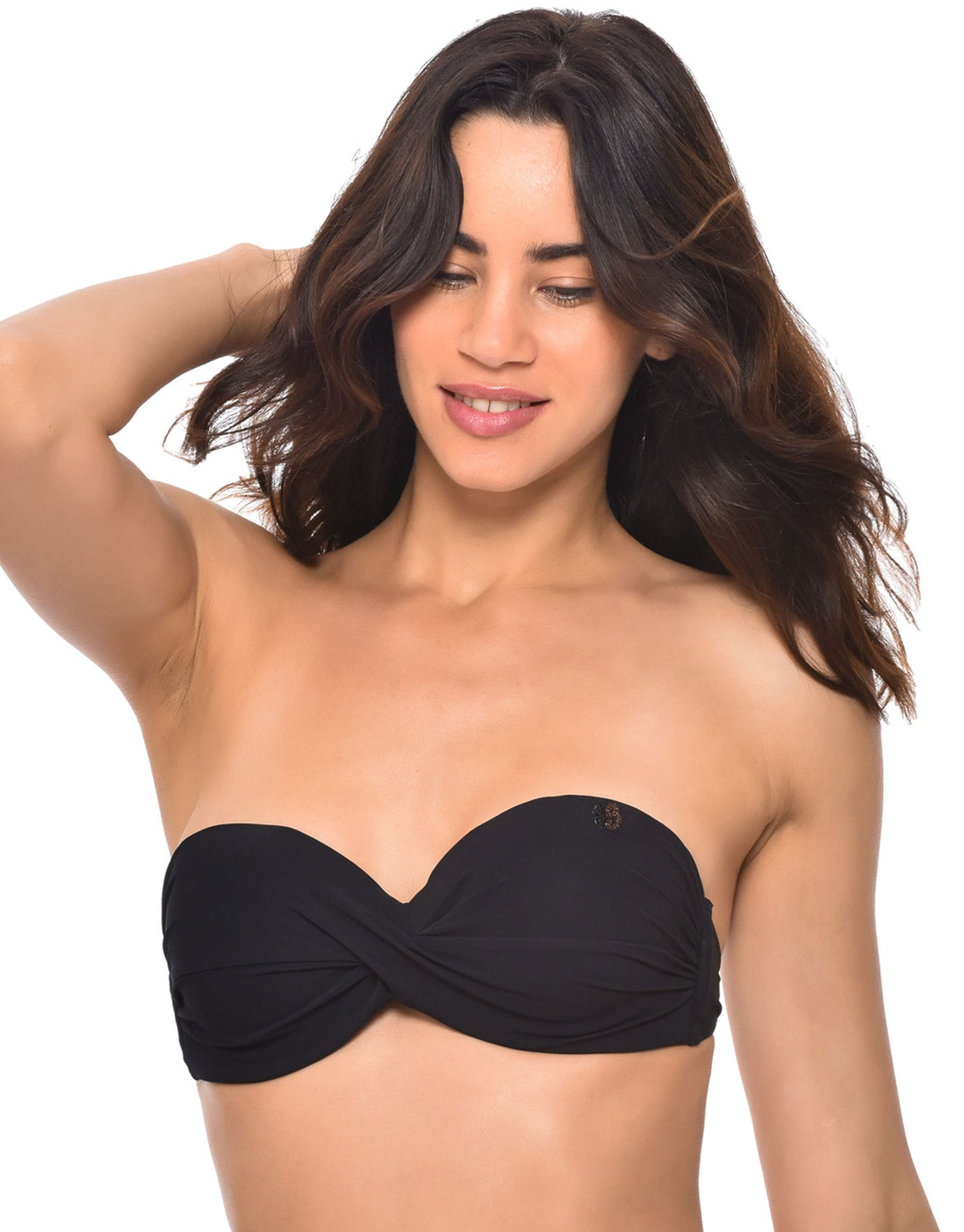 Banana Moon Black Sakata Twist Bandeau Bikini Top - Black