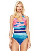 Seascape Surplice Halter Swimsuit - Sunrise Blue