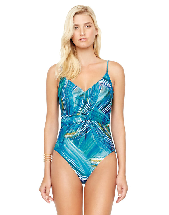 Tourmaline V Neck Surplice Swimsuit - Multi Blue