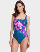 Gottex Fiji Square Neck Tank Swimsuit - Navy/Pink