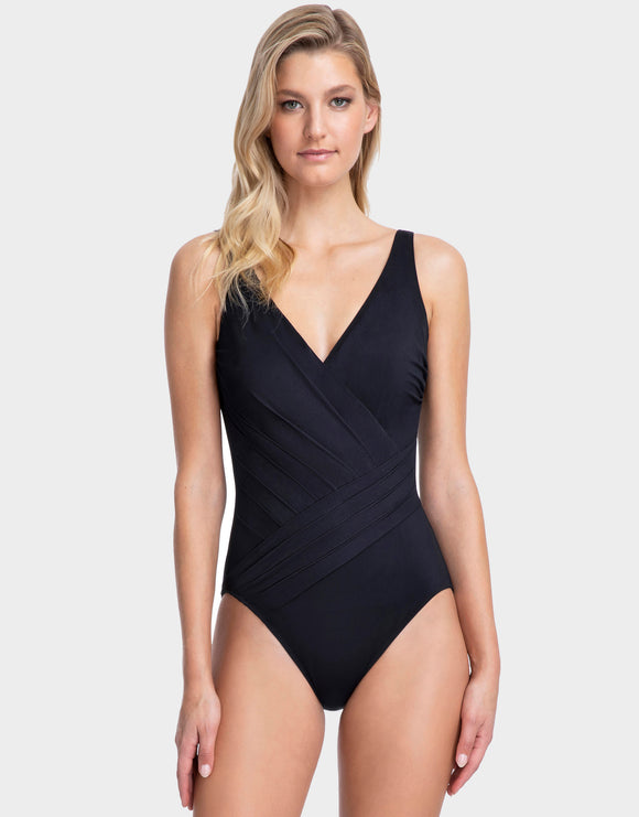 Gottex Lattice Surplice Swimsuit - Black