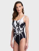 Gottex Midnight Rose Square Neck Tank Swimsuit - Black/White