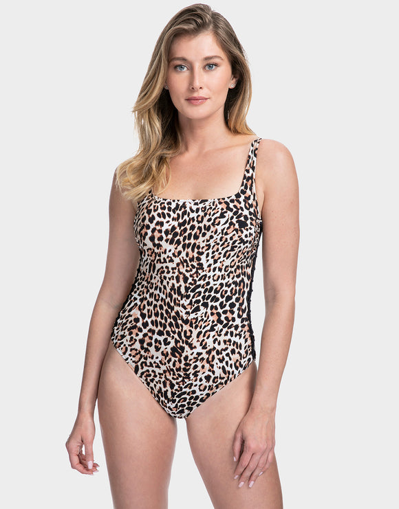 Gottex Profile Wild Thing Lace Up Side Swimsuit - Leopard