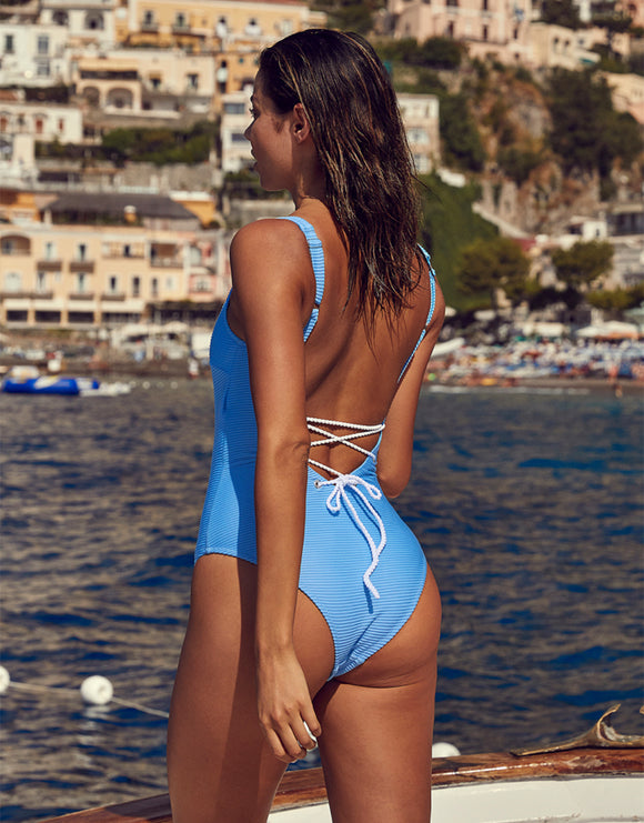 Cairns Rope Back Swimsuit - Light Blue