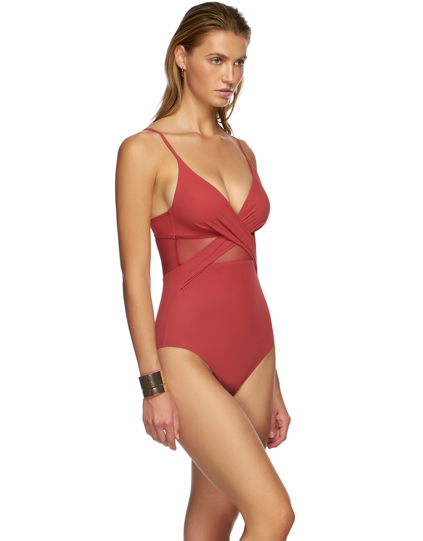 Jets Contour Cross Over Swimsuit - Red