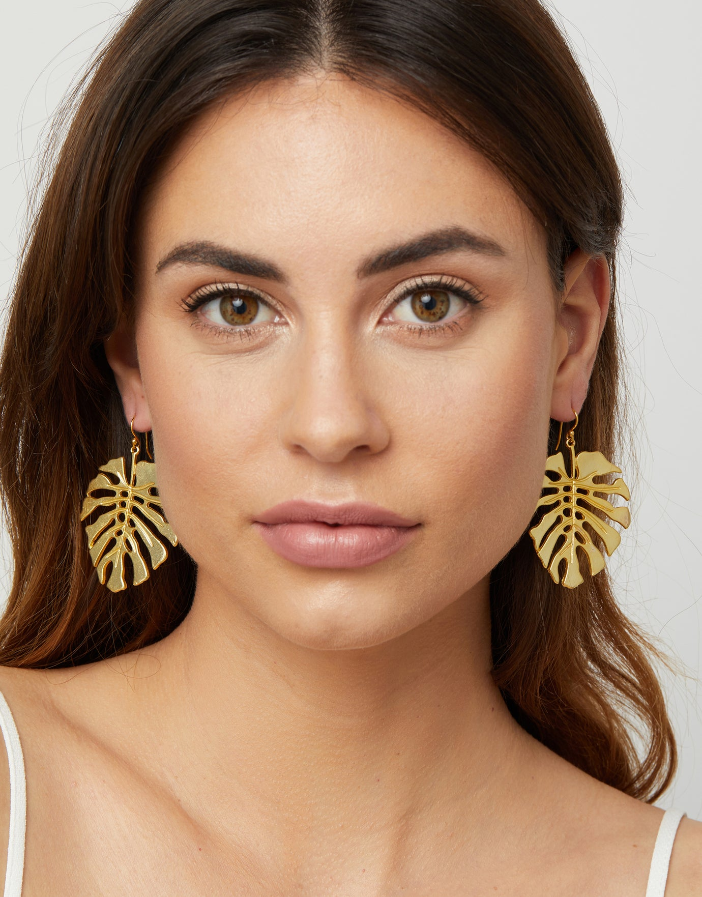 Ashiana Tropical Flavours Adriana Monstera Drop Earrings - Gold