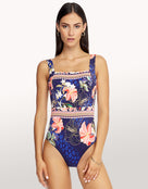 Desert Bloom Square Neck Swimsuit - Indigo