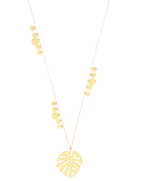 Ashiana Tropical Flavours Adriana Monstera Leaf Necklace - Gold