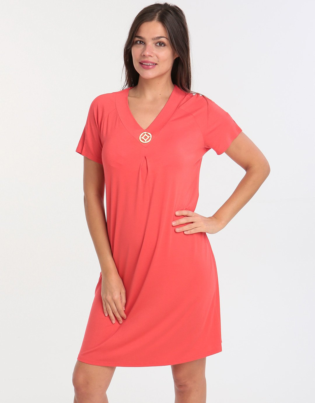 Charmor Short Sleeve Dress - Red