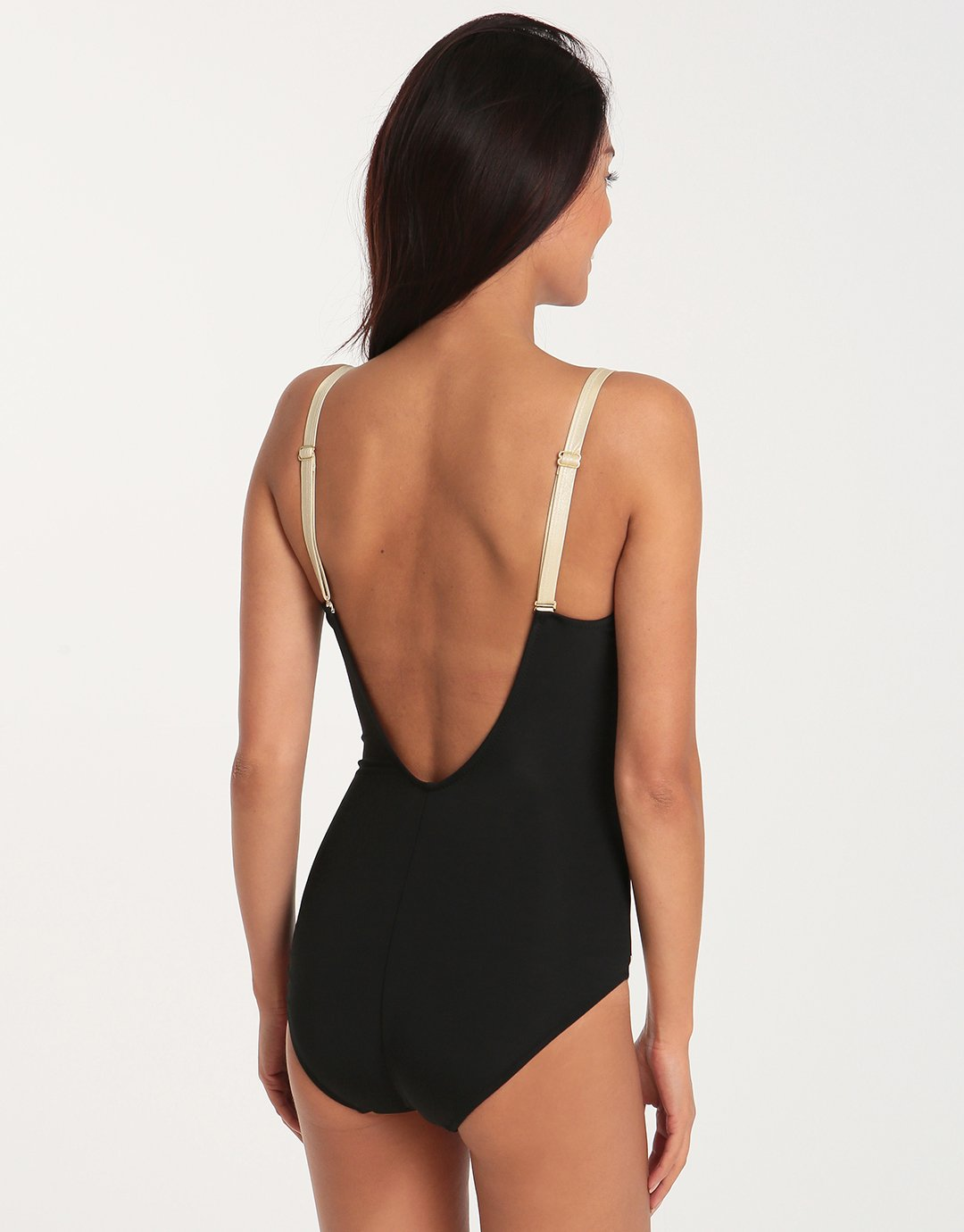 David Gleam Gold C Cup One Piece - Black