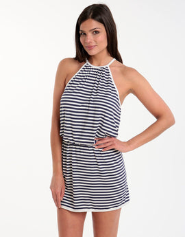 Freya Coastline Halterneck Beach Dress - Stripe