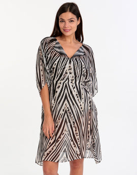 Gottex Star Leopard Beach Dress - Black White