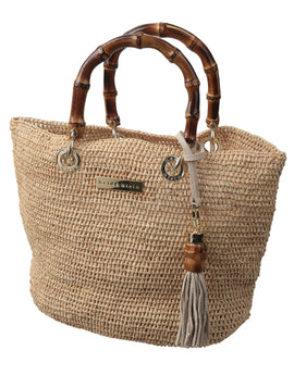 Heidi Klein Savannah Bay Super Mini Bamboo Bag - Natural