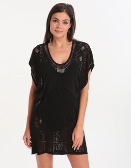 Jets Intrigue Scoop Neckline Kaftan - Black
