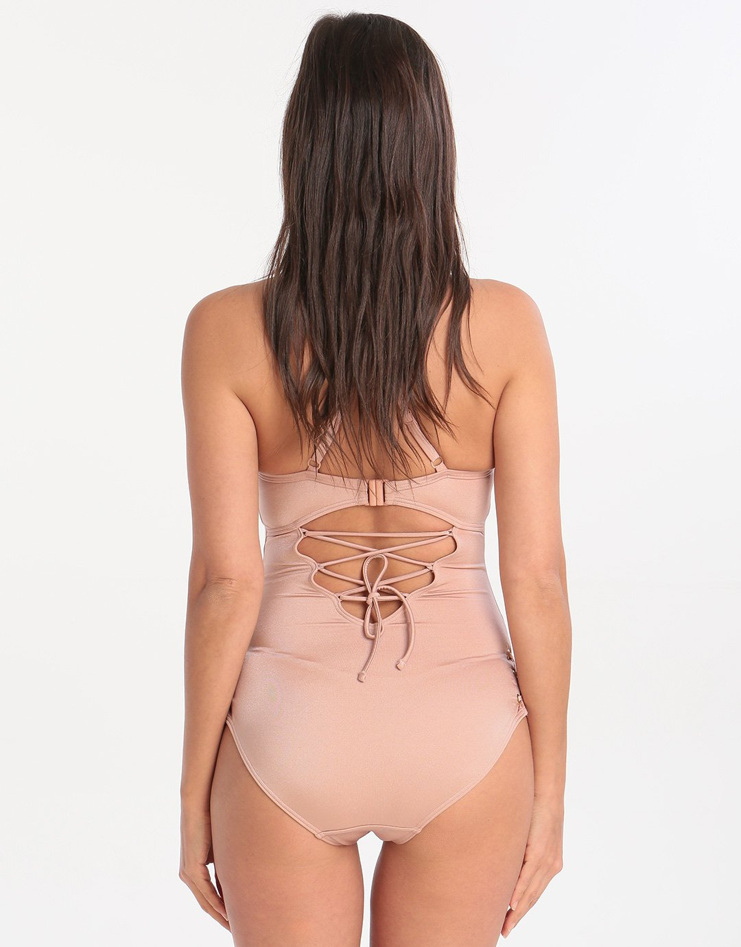 Lepel London Pretty Wild Padded Plunge Swimsuit - Rose Gold