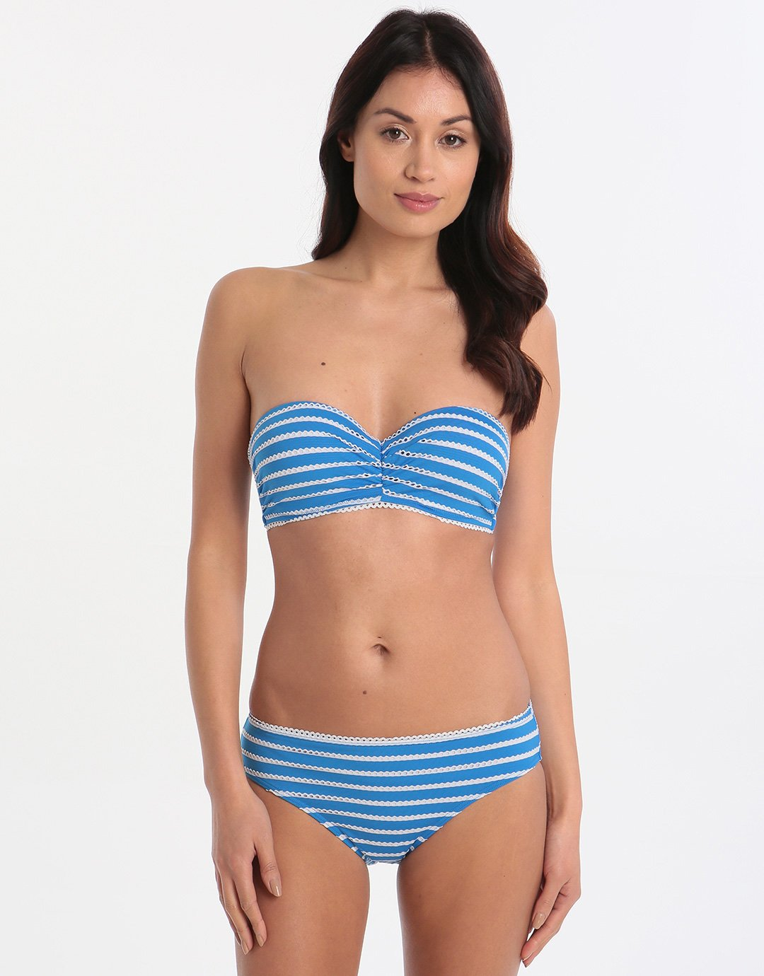 Lepel London Tidal Wave Moulded Balconette Bikini Top - Blue/Cream