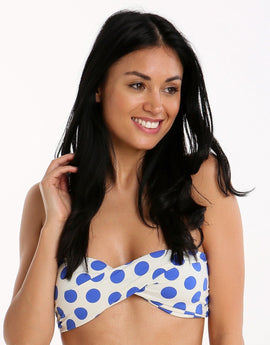 Phax Stripes and Dots Spotty Twist Bandeau - Blue