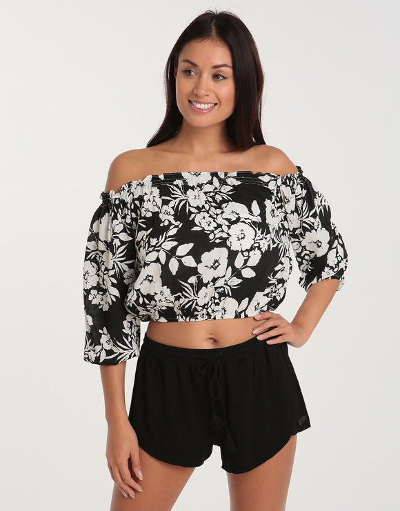 Pia Rossini Monterosa Top - Black White
