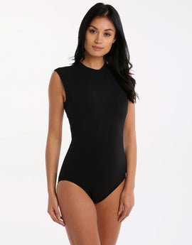 Seafolly Active Cap Sleeve Maillot - Black