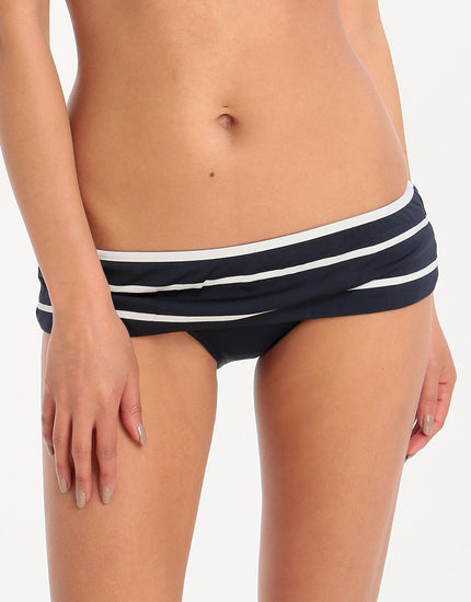 Seafolly Castaway Stripe Skirted Hipster - Indigo