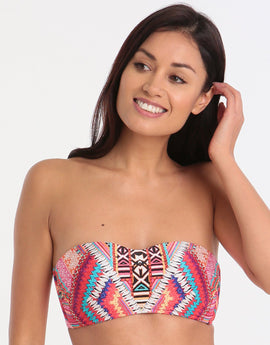Seafolly Desert Tribe Bustier Bandeau - Flame