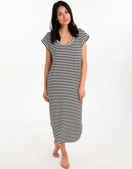 Seafolly Mini Stripe Jersey Dress - Black