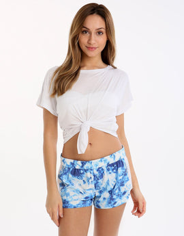 Seafolly Ocean Rose Tie Front Tee - White