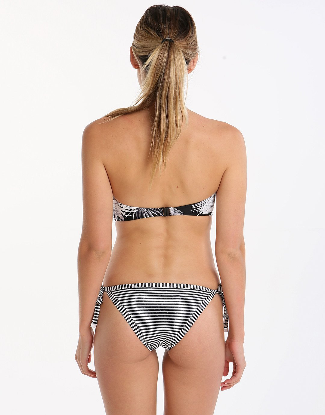 Seafolly Riviera Stripe Brazilian Tie Side - Black Marle