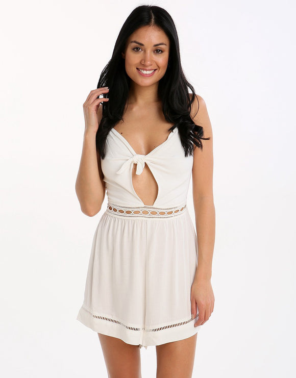 Seafolly Tie Front Playsuit - Milk