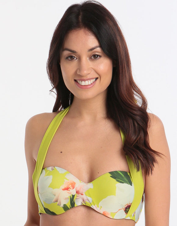 Ted Baker Chatsworth Bloom Moulded Halter Bikini Top - Green