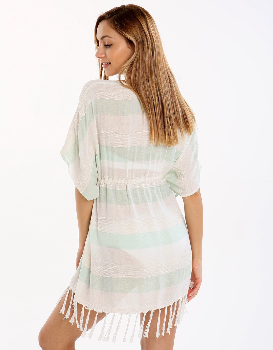 Watercult Kimono - Off White and Aqua