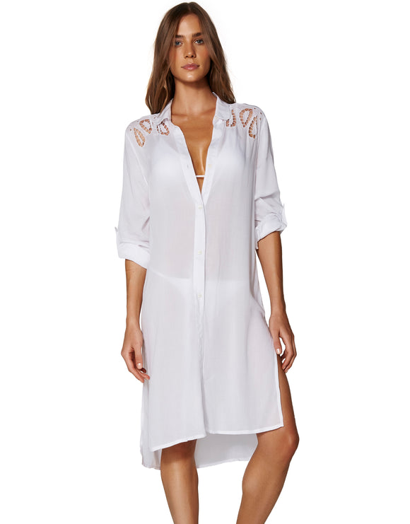 ViX Solid Embroidery Kaftan - White