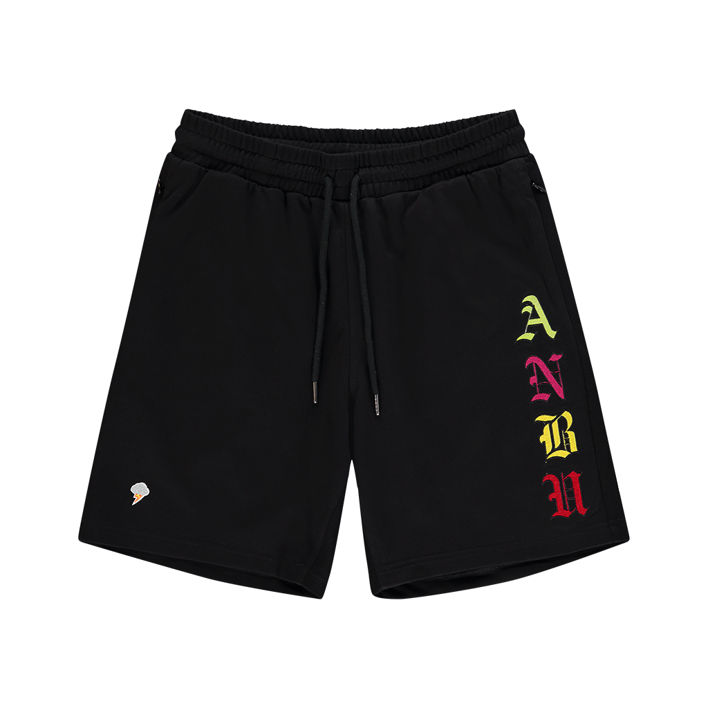 ANBU GANG BLACK FRENCH TERRY SHORTS
