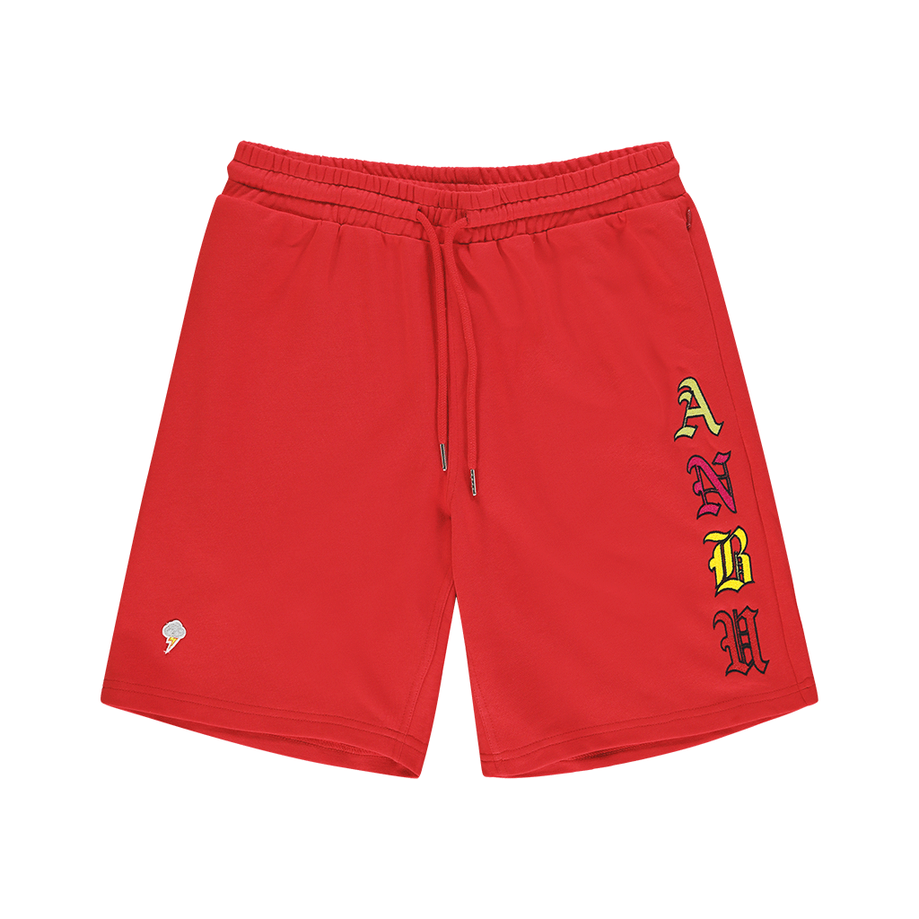 ANBU GANG RED FRENCH TERRY SHORTS