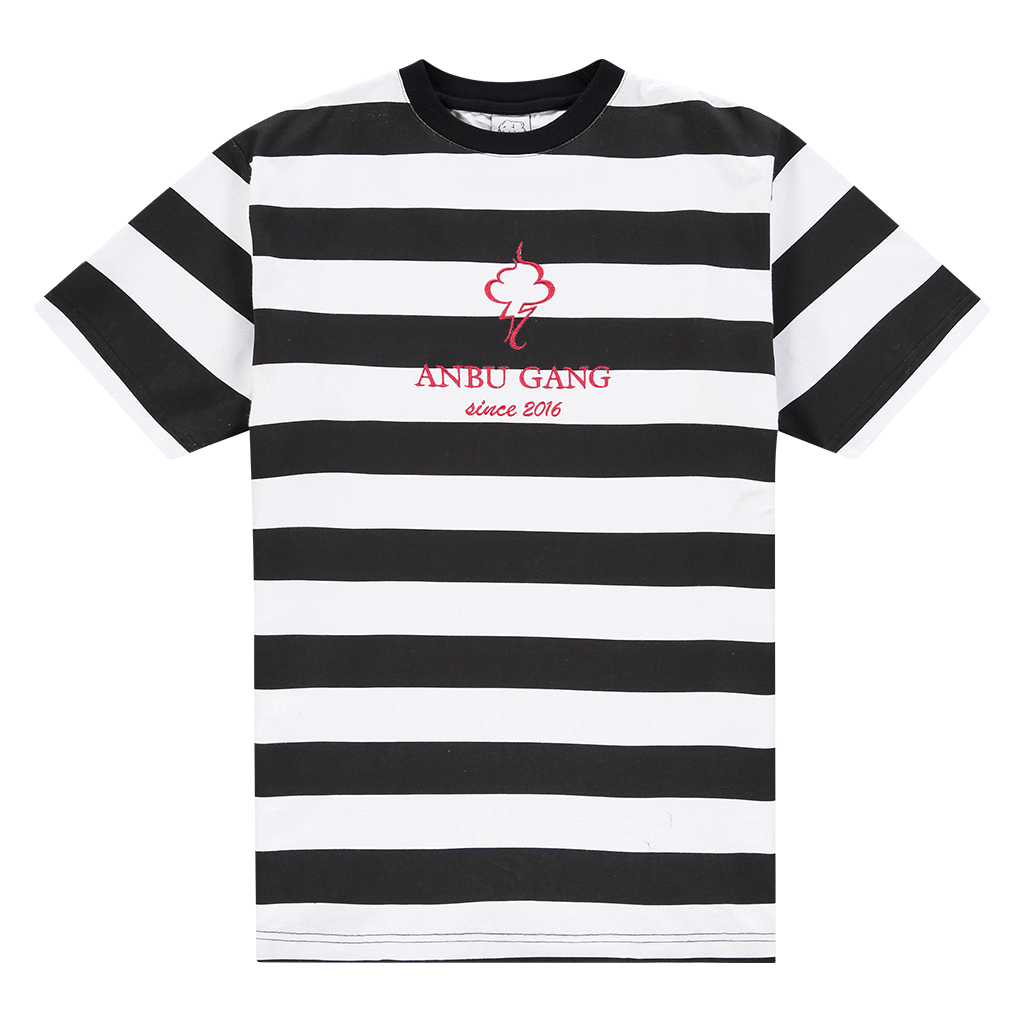 ANBU GANG BLACK AND WHITE STRIPED TEE