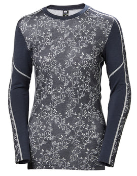 Helly Hansen Womens HH Lifa Merino Graphic Crew Top - Graphite Blue