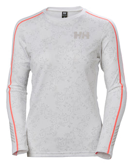Helly Hansen Womens HH Lifa Active Graphic Crew Top - White Print