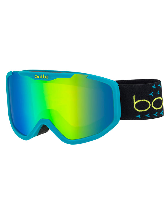 Bolle Kids Rocket Plus Ski Goggle - Matte Blue/Black with Green Emerald Lens