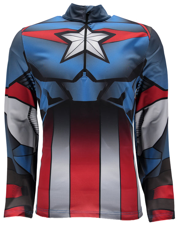 Spyder Mens Marvel Tech Zip T Neck Mid Layer - Captain