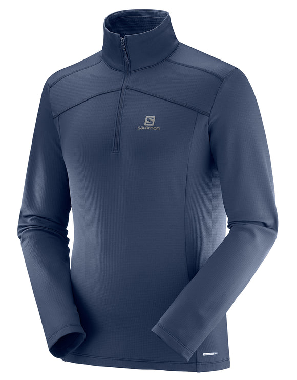 Salomon Mens Discovery LT Half Zip Midlayer - Night Sky