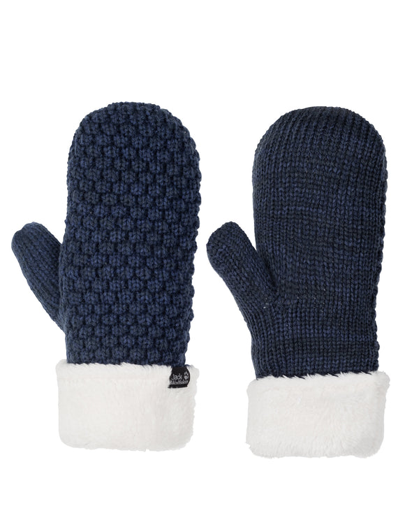 Jack Wolfskin Womens High Loft Knit Mitten - Midnight Blue