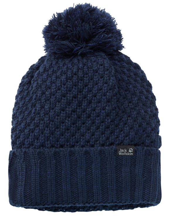 Jack Wolfskin Womens High Loft Knit Cap Beanie Hat - Midnight Blue