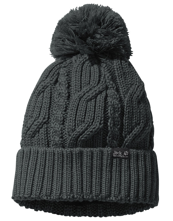 Jack Wolfskin Womens Stormlock Pompom Beanie Hat - Greenish Grey