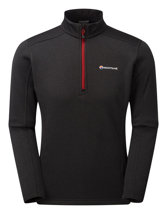 Montane Mens Forza Pull On Fleece - Black Alpine Red