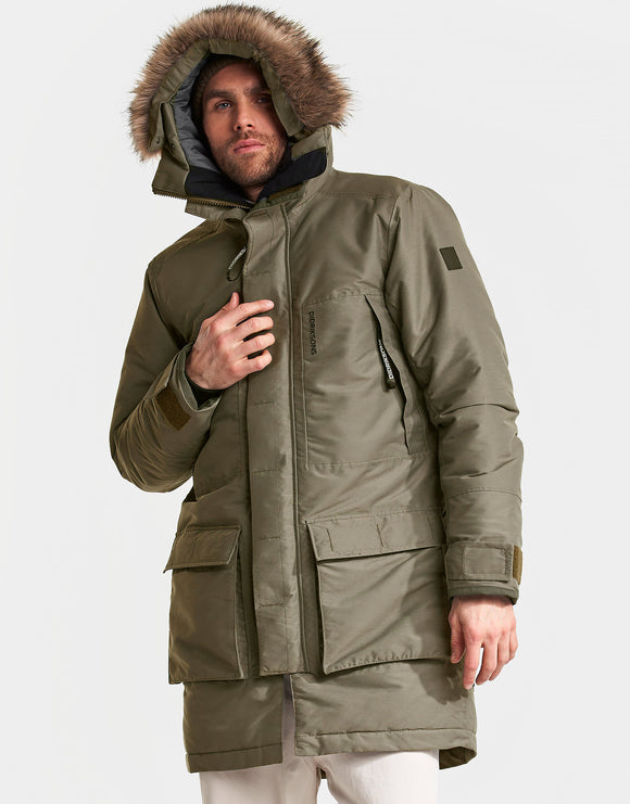 Didriksons Mens Ben Parka Jacket - Crocodile Green