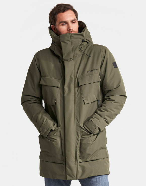 Didriksons Mens Drew Parka Jacket - Crocodile Green